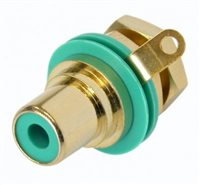 Neutrik Gold Plated RCA/Phono Socket - Green Isolation NYS367-5