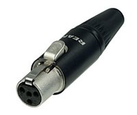 Tiny 4 Pole XLR Female Cable Black Body RT4FC-B by Neutrik