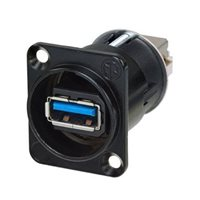 Neutrik Reversible USB 3.0 Feed Through Adapter Black Housing