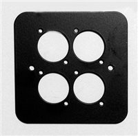 Penn Elcom D/Plate Single Black punched for 4 x  XLR Rounded Corners 82511-4RC