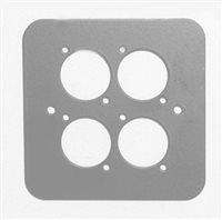 D/Plate Single S/Grey punched for 4 x  XLR Rounded Corners 82511-4RCS by Penn Elcom