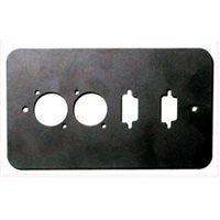 Penn Elcom Double Gang Plate Black Punched for 2 x  XLR/2 x 15D Rounded Corners 84511-15D-RC