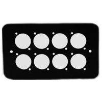Penn Elcom Double Gang Plate Black Punched for 8 x  XLR Rounded Corners