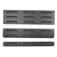 Penn Elcom 1U Rack Panel Steel Flanged Louvre Black