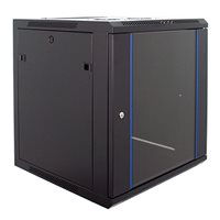 Penn Elcom 12U Wall Mount Rack Enclosure 600mm/23.62 Deep Glass Door WM-6612BK