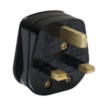 Powerconnections Mains Plug Blk fitted with 13 Amp Fuse Screw Cable Clamp CM-6413
