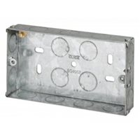 Scolmore Back Box Double Gang 25mm Shallow Galvanised Steel WA094