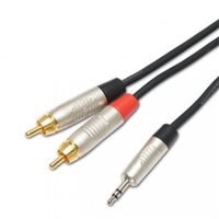 1M Y Lead  3.5mm Stereo Jack to 2 x RCA Phono NRA-031-0150-010 by Penn Elcom