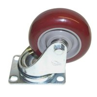 "Penn Elcom 89mm/3.5"" Swivel Castor Burgundy/Grey Polyurethane Wheel Braked 1352Z210TB"