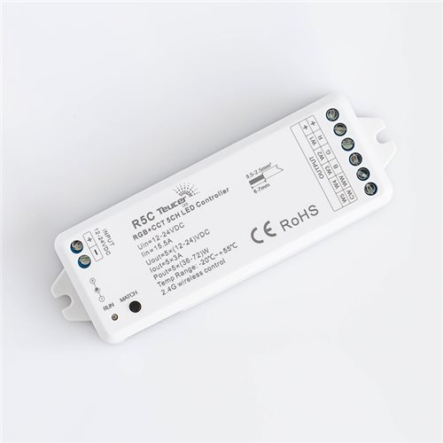 Teucer Led 5Ch Rf Receiver for Rgbtw flex R5C  - 点击查看大图