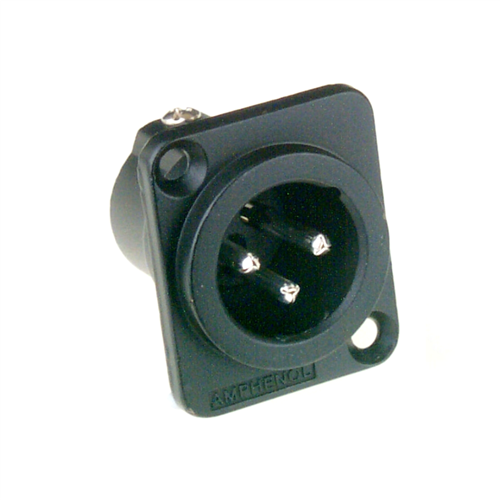 Amphenol XLR 3 Pin Male Chassis Stamped Contacts Black Finish AC3MDZB  - Click to view a larger image