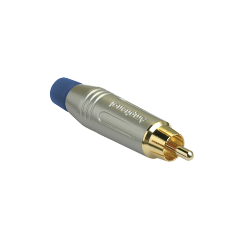 Amphenol RCA Cable Plug Satin Finish Blue ACPR-SBL  - Click to view a larger image