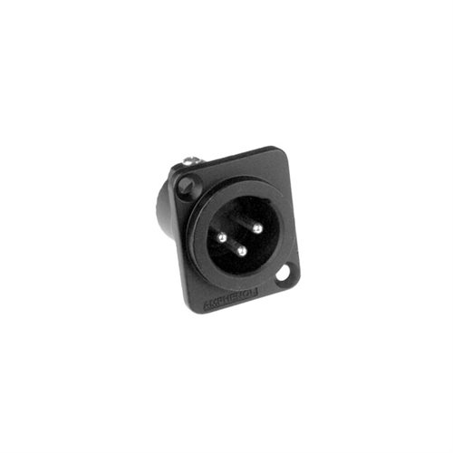 Amphenol XLR 3 Pin Male Chassis Machined Contacts Black Body AC3MMDZB  - Click to view a larger image