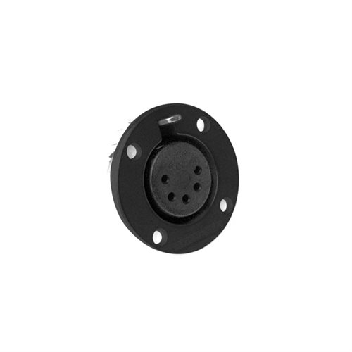Amphenol EP Female Chassis 5 Pole Nickel Round Flange Black Finish EP-5-13PB  - Click to view a larger image