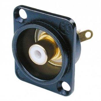 Neutrik Phono Chassis Socket White Solder Terminals Black Shell NF2D-B-9
