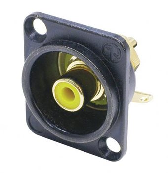 Neutrik Phono Chassis Socket Yellow Solder Terminals Black Shell NF2D-B-4
