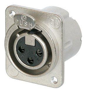 Neutrik XLR 3 Pin Female Chassis DLX Tapped Holes NC3FD-LX-M3