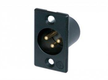 Neutrik XLR 3 Pin Male Chassis Black Body Gold Pins NC3MP-B