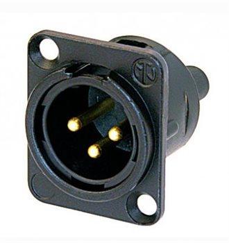 Neutrik Neutrik XLR 3-poliger Chassisstecker, Male, Schraubanschlüsse - NC3MD-S-1-B