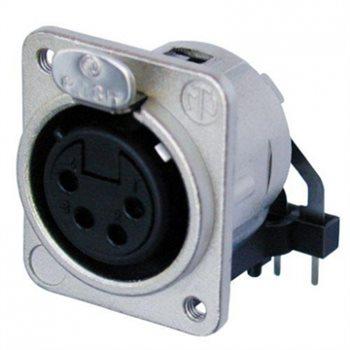 Neutrik XLR 4 Pin Female Chassis Rear Insert Hoz PCB Mount NC4FDM3-H NC4FDM3-H-D