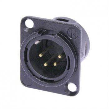 Neutrik XLR 4 Pin Male Chassis Black Body Gold Pins NC4MD-L-B-1 NC4MD-L-B-1