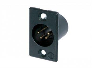 Neutrik XLR 4 Pin Male Chassis Black Body Gold Pins NC4MP-B NC4MP-B