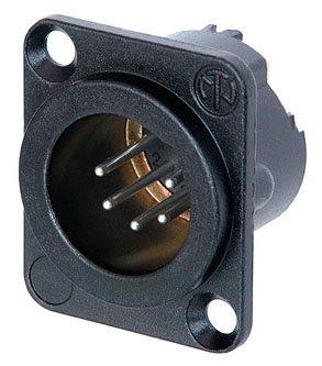 Neutrik XLR 5 Pin Male Chassis  Black Body NC5MD-LX-BAG