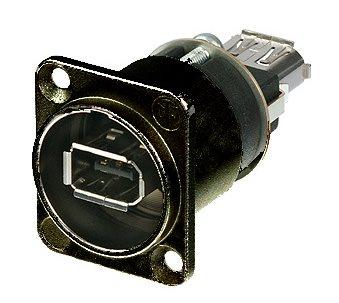 Neutrik FireWire 1394 Adaptor Black Female A to A  D/Chassis NA1394-6-W-B