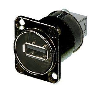 Neutrik Adaptateur USB Réversible A à B de Type D/Châssis Noir NAUSB-W-B