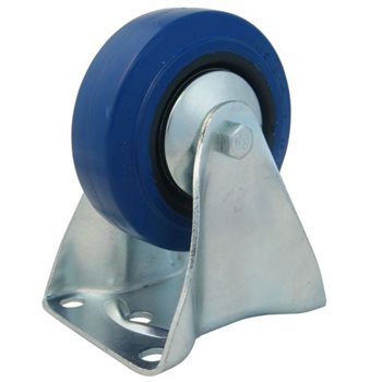 """Penn Elcom 80mm / 3"""" Fixed Castor with Blue Wheel W0975  - Click to view a larger image"""