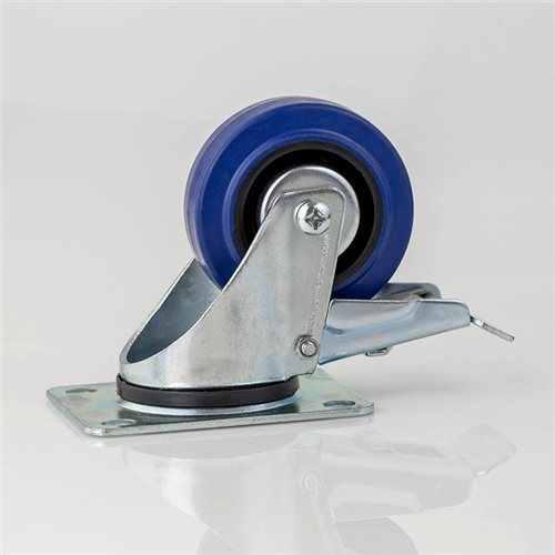 "Penn Elcom 80mm / 3"" Swivel Braked Castor with Blue Wheel W0985/80  - 点击查看大图"