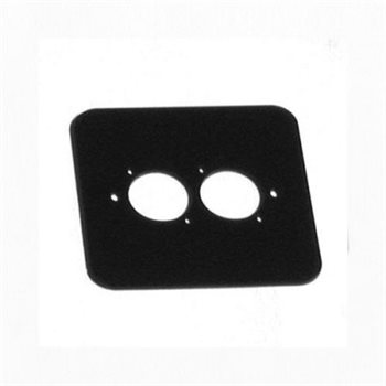 Penn Elcom D/Plate Single Black punched for 2 x  XLR Rounded Corners 82511-RC  - Click to view a larger image