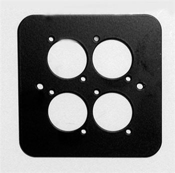 Penn Elcom D/Plate Single Black punched for 4 x  XLR Rounded Corners 82511-4RC  - Click to view a larger image