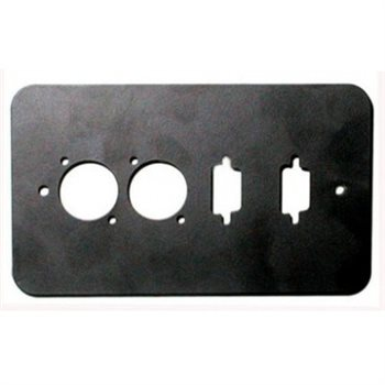 Penn Elcom Double Gang Plate Black Punched for 2 x  XLR/2 x 15D Rounded Corners 84511-15D-RC  - Click to view a larger image