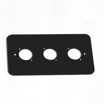 Penn Elcom Double Gang Plate Black Punched for 3 x  XLR Rounded Corners 86511-RC  - Click to view a larger image