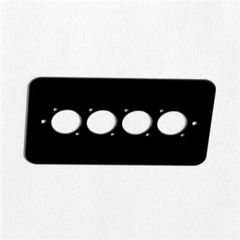 Penn Elcom Double Gang Plate Black Punched for 4 x  XLR Rounded Corners 84511-RC  - Click to view a larger image