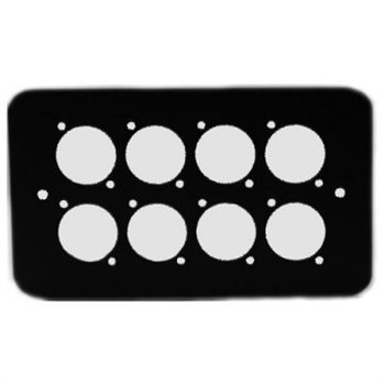 Penn Elcom Double Gang Plate Black Punched for 8 x  XLR Rounded Corners 84511-8RC  - Click to view a larger image