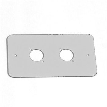 Penn Elcom Double Gang Plate Punched for 2 x  XLR Rounded Corners Silver 83511-RCS  - Click to view a larger image