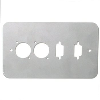 Penn Elcom Double Gang Plate Silver Punched for 2 x  XLR/2 x 15D Rounded Corners 84511-15D-RCS  - Click to view a larger image