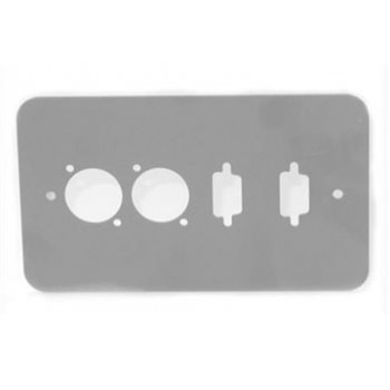 Penn Elcom Double Gang Plate Silver Punched for 2 x  XLR/2 x 9D Rounded Corners 84511-9D-RCS  - Click to view a larger image