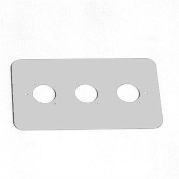 Penn Elcom Double Gang Plate Silver Punched for 3 x  XLR Rounded Corners 86511-RCS  - Click to view a larger image