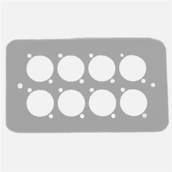 Penn Elcom Double Gang Plate Silver Punched for 8 x  XLR Rounded Corners 84511-8RCS  - Click to view a larger image