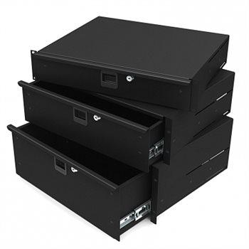 "Penn Elcom 3U Aluminium Rack Drawer Black 387mm / 15.25"" Deep R2292-3UAK"