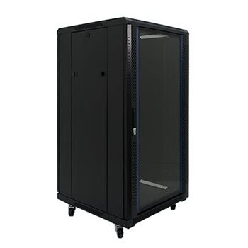 "Penn Elcom 22U 19 Inch Server Rack Enclosure 1000mm/3ft3"" Deep Glass Door EMS-61022BK  - Click to view a larger image"