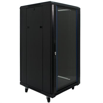 "Penn Elcom 22U 19 Inch Server Rack Enclosure 600mm/23.62"" Deep Glass Door EMS-6622BK  - Click to view a larger image"