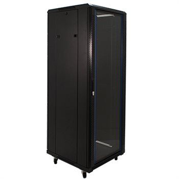 "Penn Elcom 32U 19 Inch Server Rack Enclosure 600mm/23.62"" Deep Glass Door EMS-6632BK  - Click to view a larger image"