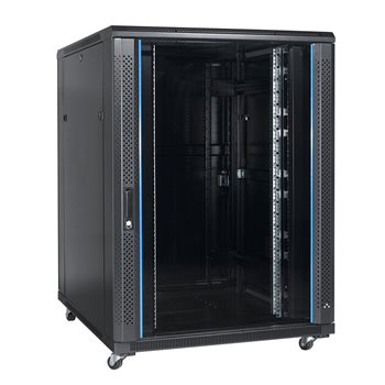 "Penn Elcom 32U 19 Inch Server Rack Enclosure 800mm/31.5"" Depth x 800mm/31.5"" Width Glass Door EMS-8832BK  - Click to view a larger image"