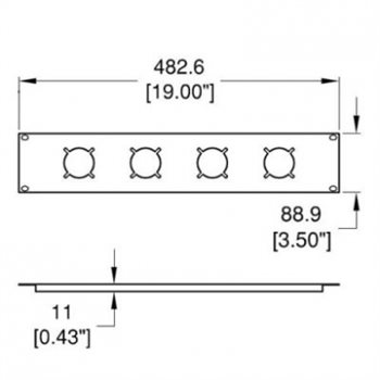 Penn Elcom 2U Rack Panel Punched for 4 x Socopax R1274