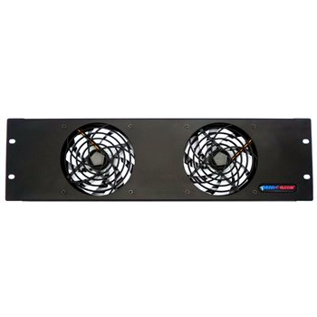 Penn Elcom 3U Fan Panel - Double Fans FP02-Q-3U  - Click to view a larger image