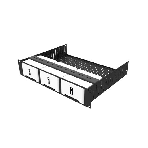 Penn Elcom 2U Rack Shelf & Faceplate Cut Out For 3 x Sonos Connect Units R1498/2UK-SONOS3  - Click to view a larger image